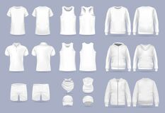 Blank white collection of men`s clothing templates. Realistic vector mock up shirt