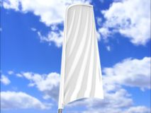 Blank white concave bow flag outdoor advertising shield beach flag banner or vertical wind banner mock up template. Blank white concave feather bow flag outdoor Royalty Free Stock Photography