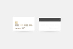 Blank white credit card mockup , clipping path, front Stock Image