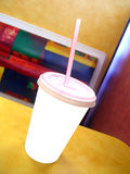 Blank White Cup in Fast Food Restaurant Stock Photo