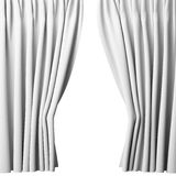 Blank white curtain on white background, 3d Royalty Free Stock Images