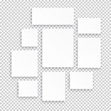 Blank white 3d paper canvas or photo frames isolated on transparent background. Vector illustration royalty free illustration