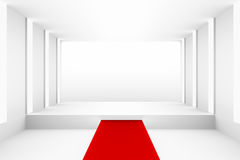 Blank white empty podium with red carpet for backdrop design template pr blank layout background Royalty Free Stock Image