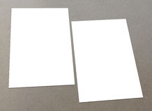 Blank white flyer. Blank white paper A4 flyer collection on floor,  flyers Stock Photo