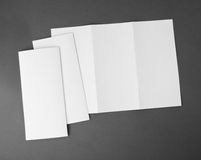 Blank white folding paper flyer Stock Photo