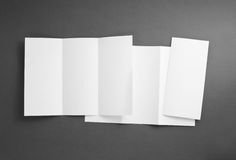 Blank white folding paper flyer Royalty Free Stock Photos