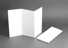 Blank white folding paper flyer Royalty Free Stock Image