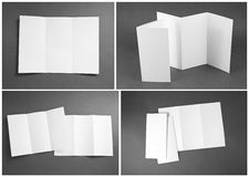 Blank white folding paper flyer Stock Photography
