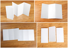 Blank white folding paper flyer Royalty Free Stock Photography