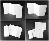 Blank white folding paper flyer. Identity design, corporate templates, company style, set of booklets, blank white folding paper flyer Royalty Free Stock Photography