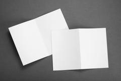 Blank white folding paper flyer Stock Photography