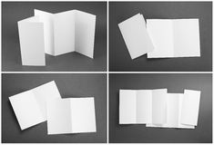 Blank white folding paper flyer. Identity design, corporate templates, company style, set of booklets, blank white folding paper flyer Stock Photo