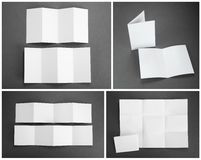 Blank white folding paper flyer Stock Photo