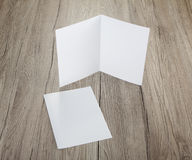 Blank white folding paper flyer. Identity design, corporate templates, company style, set of booklets, blank white folding paper flyer Stock Image