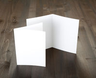 Blank white folding paper flyer. Identity design, corporate templates, company style, set of booklets, blank white folding paper flyer Royalty Free Stock Image