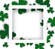 Blank white frame with shadow and clovers. Saint Patric`s Day background for design. Space for text. Vector illustration on white background Royalty Free Stock Photo