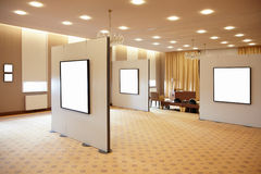 Blank white frames in art gallery stock photos