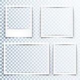 Blank white frames with realistic drop shadow effect. Borders with 3d shadows. Set of four empty photo frame templates. Blank white frames with realistic drop Stock Illustration