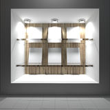 Blank white on glass shelf Royalty Free Stock Photos