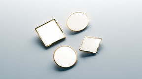 Blank white gold lapel badge mock ups set Stock Photo
