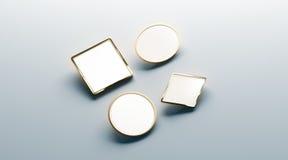 Blank white gold lapel badge mock ups set. Round, square, rhombus, ellipse, 3d rendering. Empty luxury hard enamel pin mockup. Golden clasp-pin design template Stock Photo