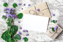 Blank white greeting card and envelope with purple wildflowers and vintage gift box Stock Images