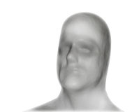 Blank White Identity Face Mask. A blank face mask of a man on a white isolated background. Use it for an identity or Halloween concept Stock Photos