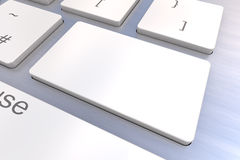 Blank White keyboard button. A Colourful 3d Rendered Illustration showing a Blank White Keyboard concept on a Computer Keyboard Stock Images