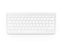 Blank white keyboard design mock up . Empty buttons keyp. Ad mockup. Clear keys plastic board template. Pc clavier layout royalty free stock photo