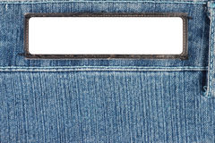 Blank White label on Jeans Stock Photos