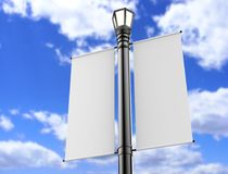 Blank white Lamp Post Banner poster 3d render for mock up and template design 3d render illustration. Blank white Lamp Post Banner poster 3d render for mock up stock illustration