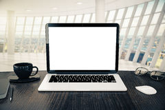 Blank white laptop closeup Royalty Free Stock Photography