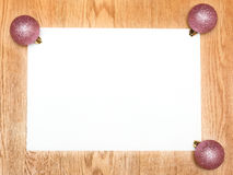 A blank white list with new year pink balls Royalty Free Stock Images
