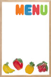 Blank white menu board. With fruit magnets Stock Photo