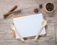 Blank white menu paper template  background and  Spicy herb ing Stock Photos