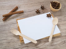 Blank white menu paper template  background and  Spicy herb ing Stock Image