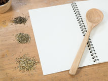 Blank white menu paper template  background and  Spicy herb ing Royalty Free Stock Photography