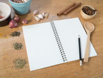 Blank white menu paper template  background and  Spicy herb ing Royalty Free Stock Photos