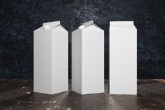 Blank white milk/juice packagings Stock Images