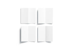 Blank white multi-page booklet mock up, opened top view. Front, back, inside side, 3d rendering. Plain twofold brochures mockups set isolated. Folded book Stock Image
