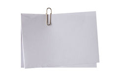 Blank white note and clip Royalty Free Stock Photography