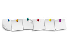 Blank white note paper with push colored pin Royalty Free Stock Photos