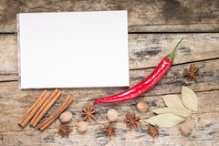 Blank White Notepad with Spices Royalty Free Stock Images