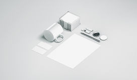 Blank white office stationery set mock up isolated. 3d rendering. Empty corporate branding identity mockups presentation. Clear space work supplies template Stock Photos
