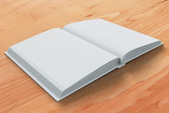 Blank white open diary pages on wooden table Stock Photography