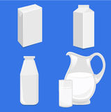 Blank White Packages For Milk Stock Photo