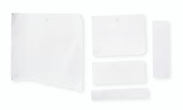 Blank white paper. A few pieces of blank white paper paper with tattered edge with clipping path on white background Stock Photo