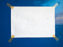 Blank white paper Attached with plastic tape Stock Photography