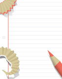 Blank white paper background with pink pencil and pencil shaving in flat design. Vector. Royalty Free Stock Photo