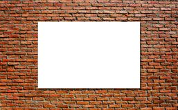 Blank white paper board at grunge brick red wall texture background. Mock up template, Business presentation content concept Royalty Free Stock Photo
